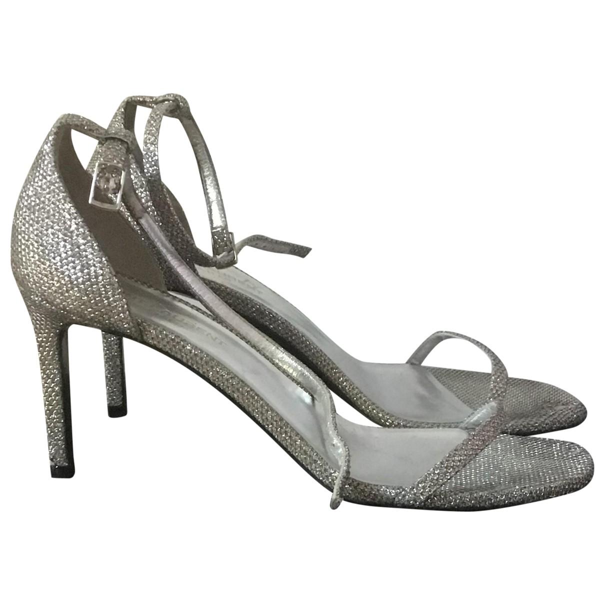 Saint Laurent \N Silver Cloth Sandals for Women 38 EU