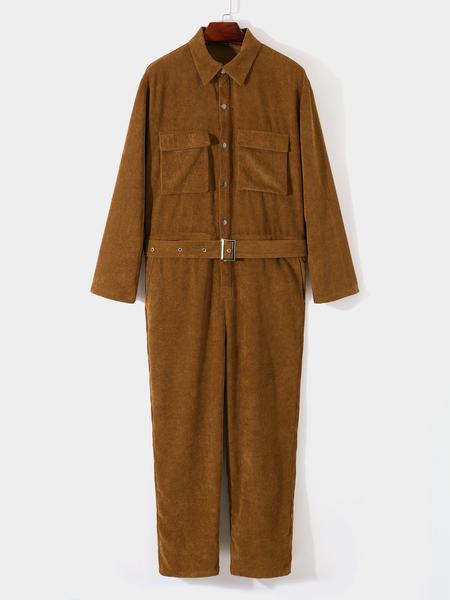 Yoins Men Autumn Fashion Retro Long Sleeve Corduroy Overalls Jumpsuit
