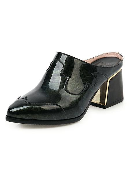 Milanoo Zapatos de tacon de bloque de charol puntiagudo para mujer