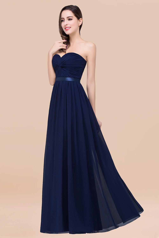 BMbridal Affordable Sweetheart Ruffle Navy Chiffon Bridesmaid Dress With Ribbon