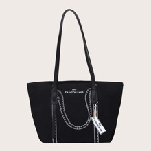 Letter Graphic Large Capacity Tote Bag