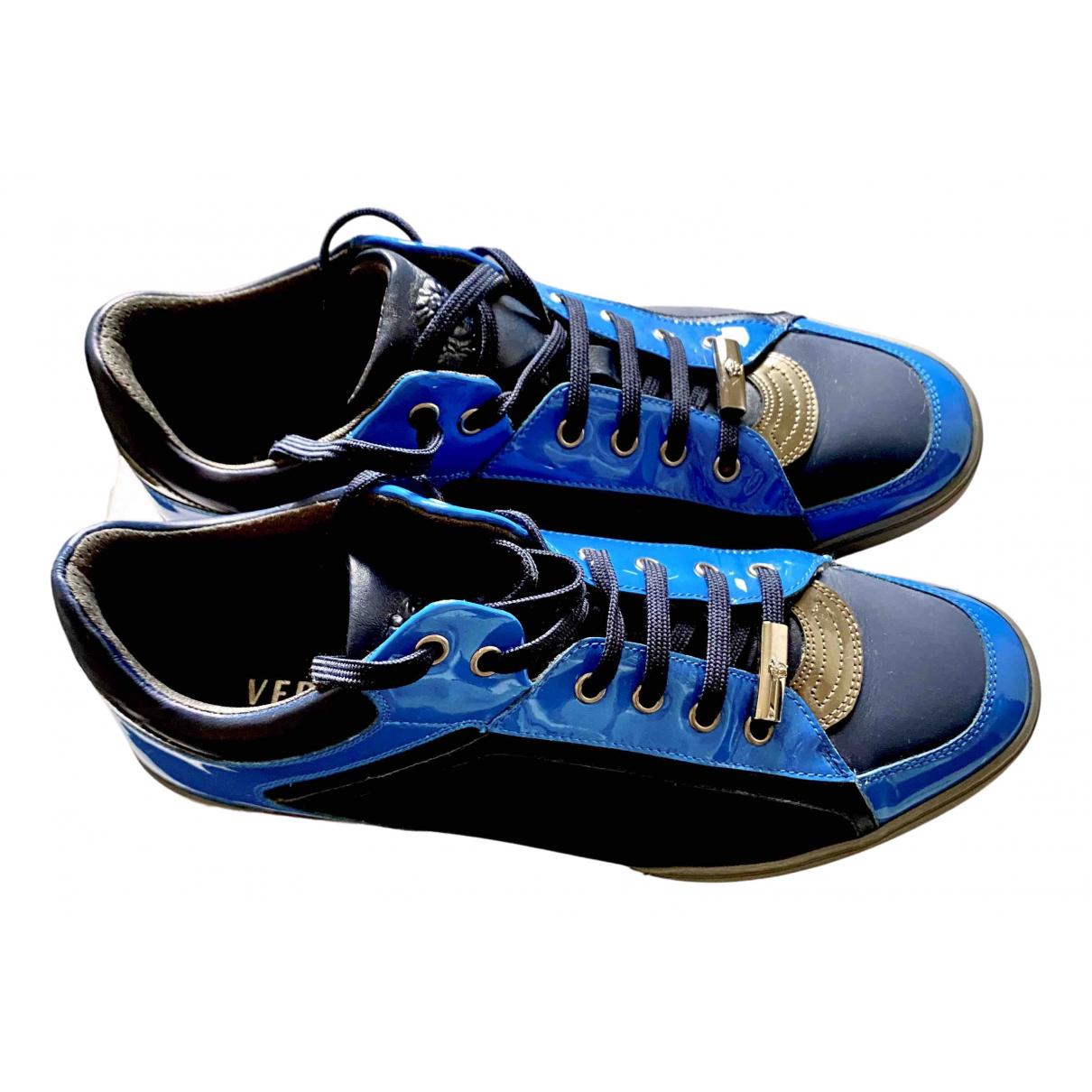 Versace - Baskets   pour homme en cuir - bleu
