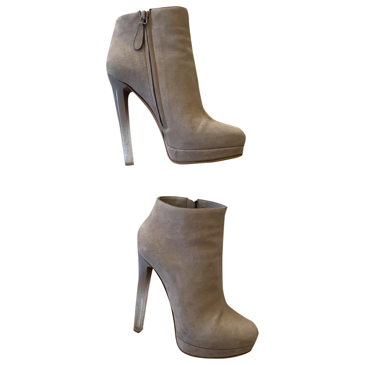 Alexander Mcqueen - Boots   pour femme en suede - blanc