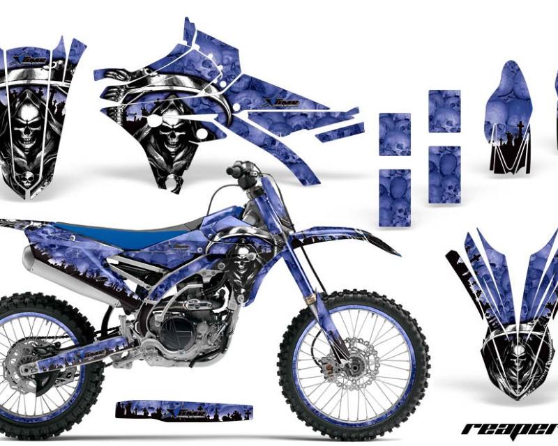 AMR Racing Graphics MX-NP-YAM-YZ250F-YZ450F-14-17-RP U Kit Decal Sticker Wrap + # Plates For Yamaha YZ250F YZ450F 2014-2017 REAPER BLUE