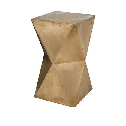 985-042 Faceted Stool With Brass Cladding - Gold  In