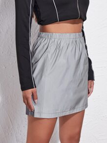 Contrast Striped Tape Reflective Skirt