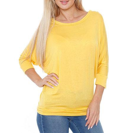 White Mark-Womens Boat Neck 3/4 Sleeve T-Shirt, Medium , Yellow