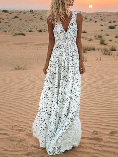 Milanoo Vestido largo blanco  Moda Mujer con estampado de lunares sin mangas Vestidos de poliester en capas con pliegues con cuello en V Verano Dating