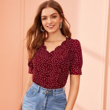 Scallop Trim Covered Button Fly Dot Top