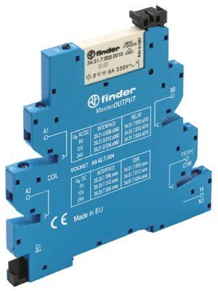 Finder , 6V ac/dc SPNO Interface Relay Module, Screw Terminal , DIN Rail