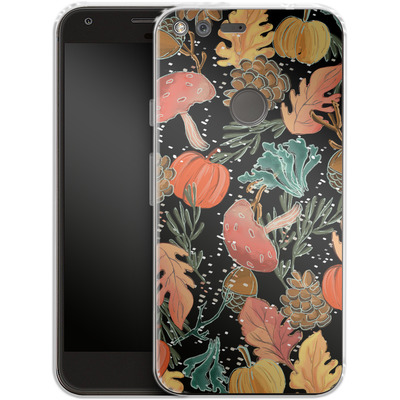 Google Pixel XL Silikon Handyhuelle - Fall Woodland Black von Mukta Lata Barua