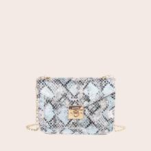Bolso de hombro con cadena con solapa con estampado de piel de serpiente