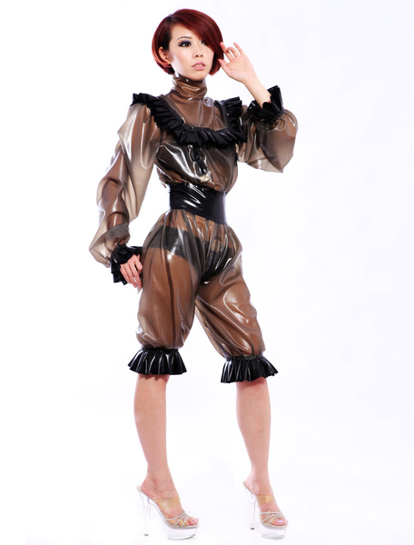 Milanoo Halloween Sexy Latex Catsuit with Lace Decoration Halloween