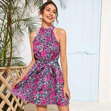 Self Belted Floral Print Halter Dress