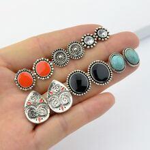 6 Paris/Set Ethnic Style Boho Chic Round Earrings