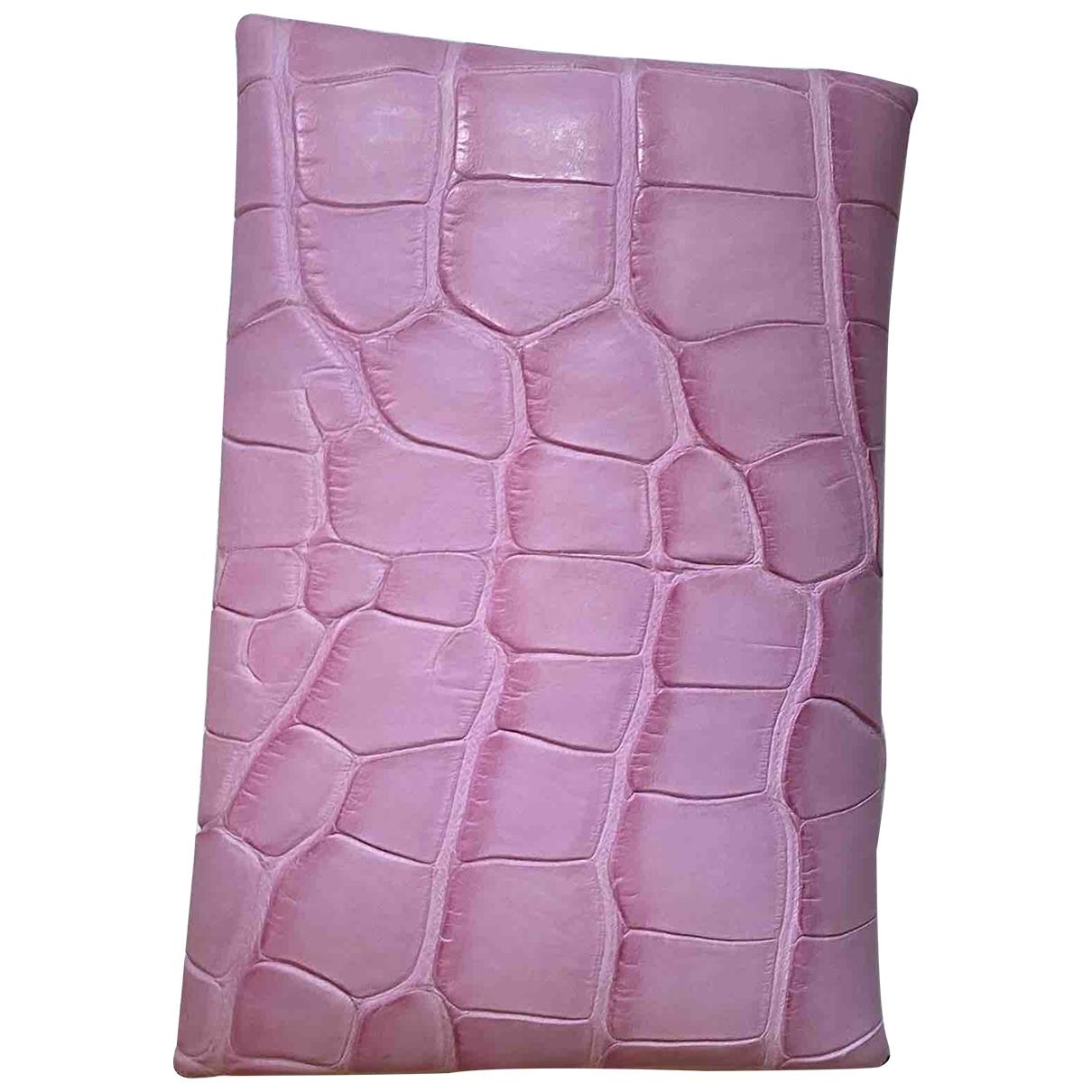 Hermes - Petite maroquinerie Calvi pour femme en cuir exotique - rose