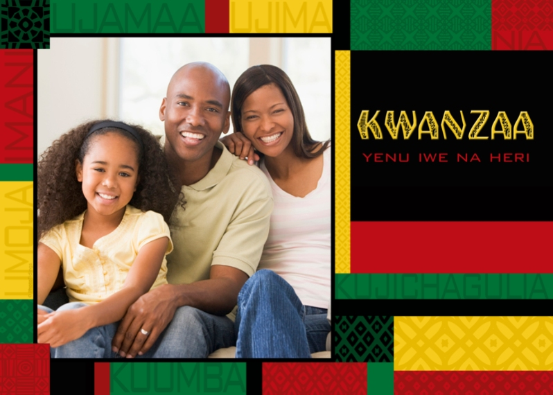 Kwanzaa Photo Cards Mail-for-Me Premium 5x7 Folded Card , Card & Stationery -Colorful Kwanzaa