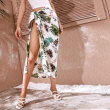 Knot Side Tropical Print Cover Up Skirt