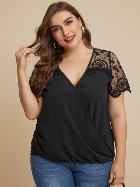 YOINS Plus Size Black Lace Short Sleeves Blouse