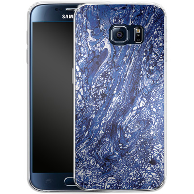Samsung Galaxy S6 Silikon Handyhuelle - Marbled Blue von Amy Sia