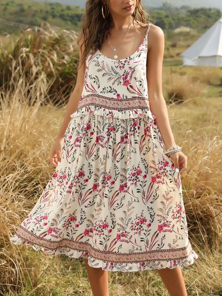 Milanoo vestido del boho sin mangas de cuello de la joya de la impresion floral sin espalda vestido para la playa