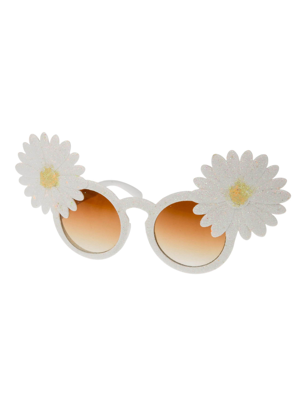 Kostuemzubehor Brille mit Blumen weiss