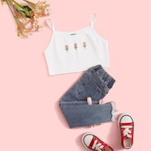Girls Embroidery Floral Crop Cami Top