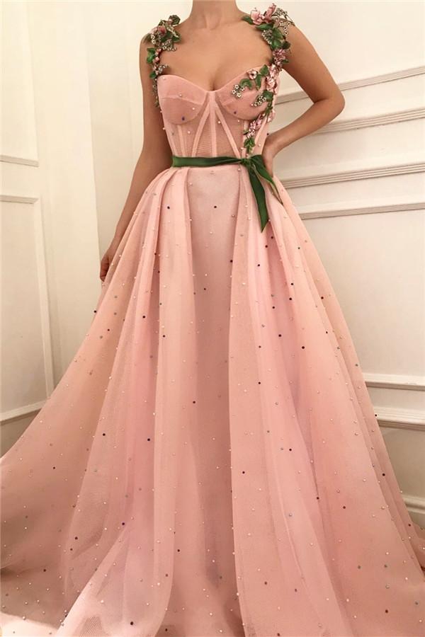 Exquisite Pink Tulle Burgund Sash Abendkleid mit Perlen | Sexy durchsichtig Mieder Schatz langen Abendkleid