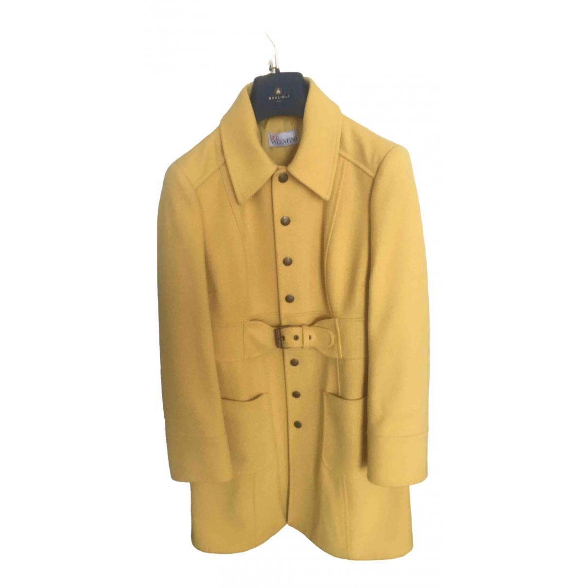 Red Valentino Garavani \N Yellow Wool coat for Women 44 IT