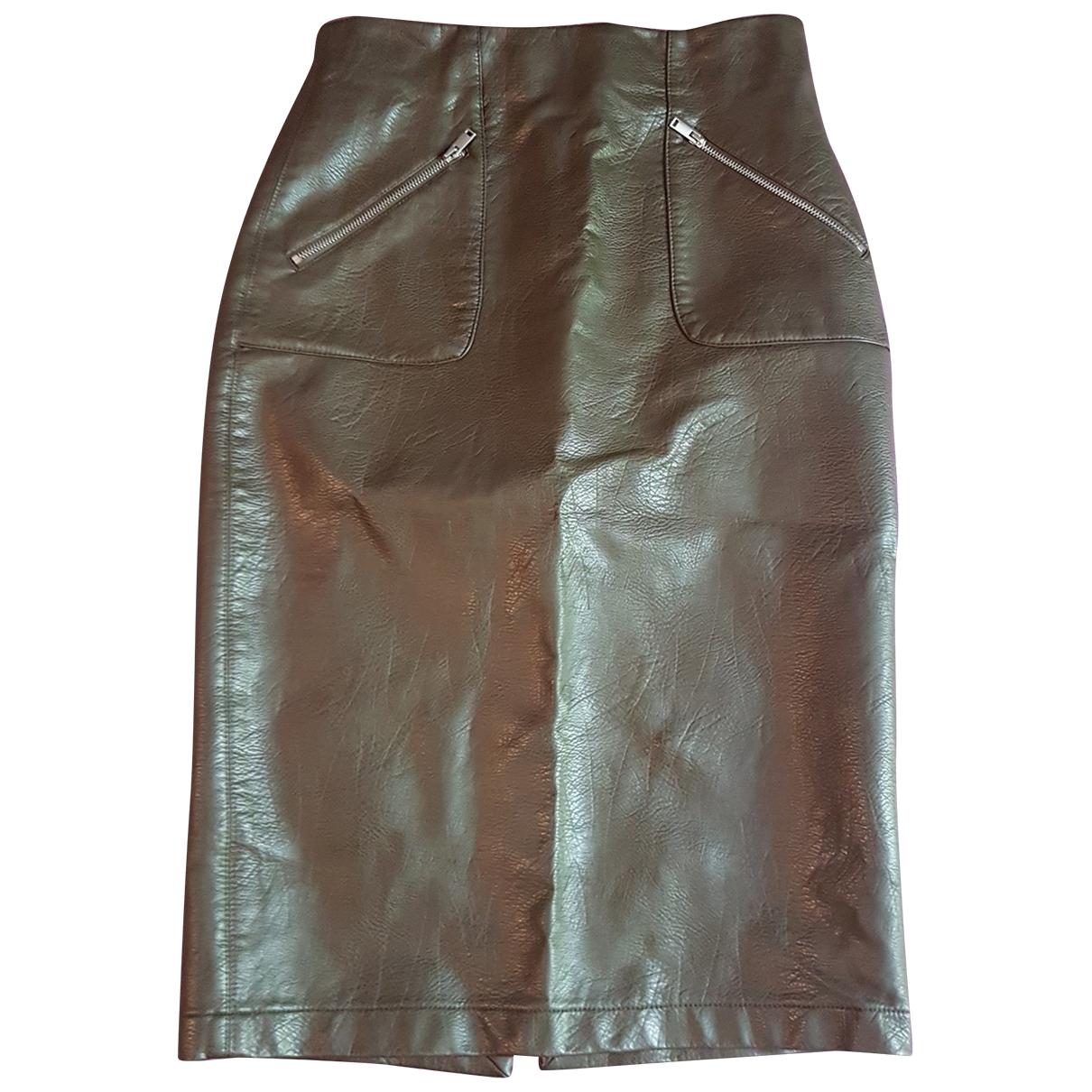 Falda midi de Cuero Zara