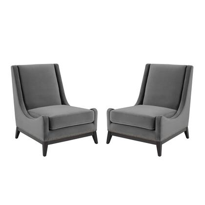 Confident Collection EEI-4487-GRY Lounge Chair Upholstered Performance Velvet Set of 2 in Gray