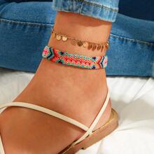 Disc & Tribal Braided Anklet 2pcs