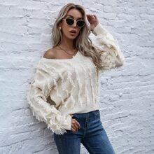 Drop Shoulder Tassel Trim Sweater