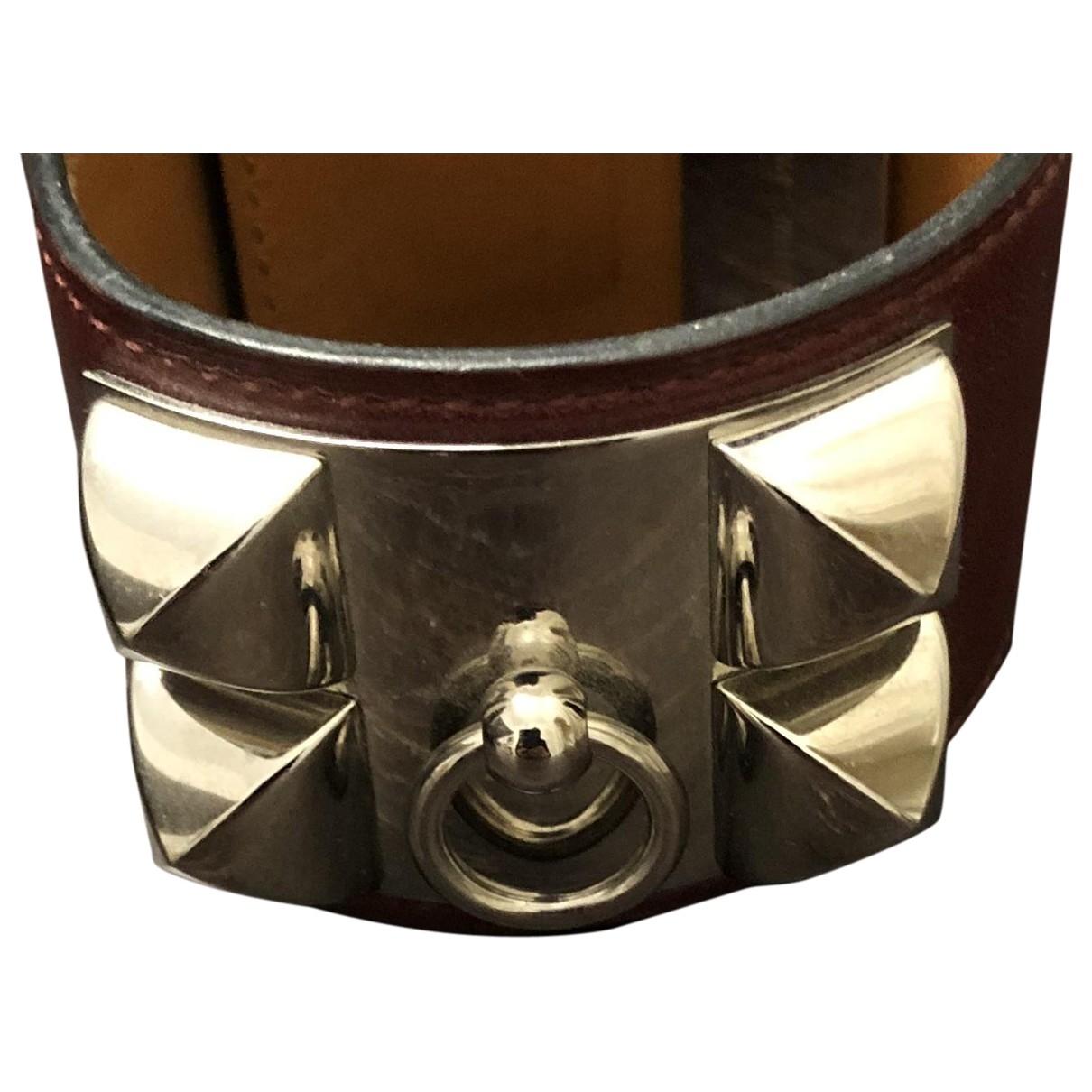 Hermes - Bracelet Collier de chien  pour femme en cuir - bordeaux