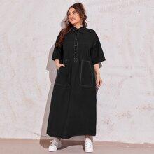 Kleid mit Knopfen vorn, Taschen Flicken und Kontrast Stich