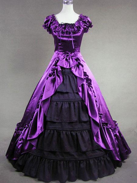 Milanoo Victorian Dress Costume Women's Purple Satin Ruffle Short Sleeves Ball Gown Retro Victorian era Clothing Halloween