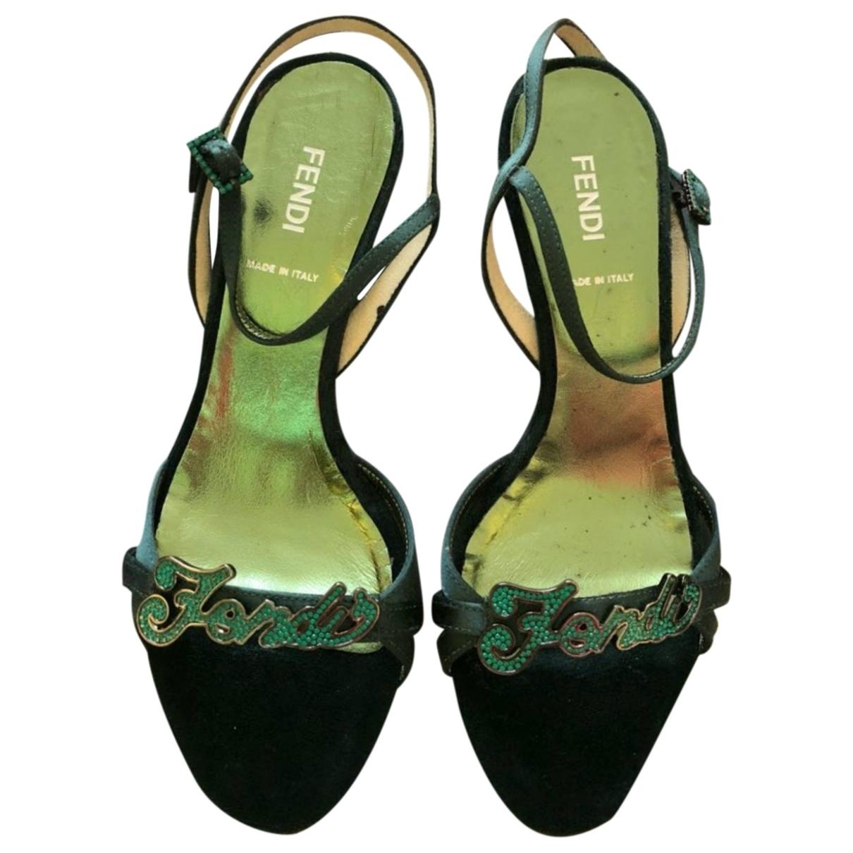 Fendi - Sandales   pour femme en suede - vert