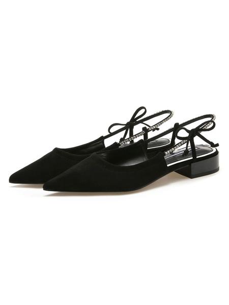 Milanoo Women\'s Heel Black Sandals Apricot Flat Pointed Toe Sheepskin Suede