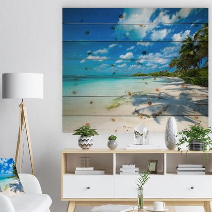 WD10382-46-36 Tropical Beach With Palm Shadows - Seashore Print On Natural Pine Wood -