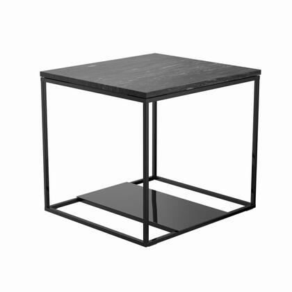 Schwartzman Collection 722697 22 End Table with Open Bottom Shelf Design  Metal Frame Construction and Modern Style Design in Black