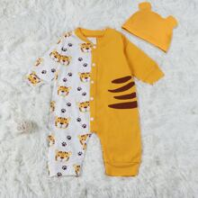 Baby Unisex Cartoon Tiger Print Jumpsuit & Hat