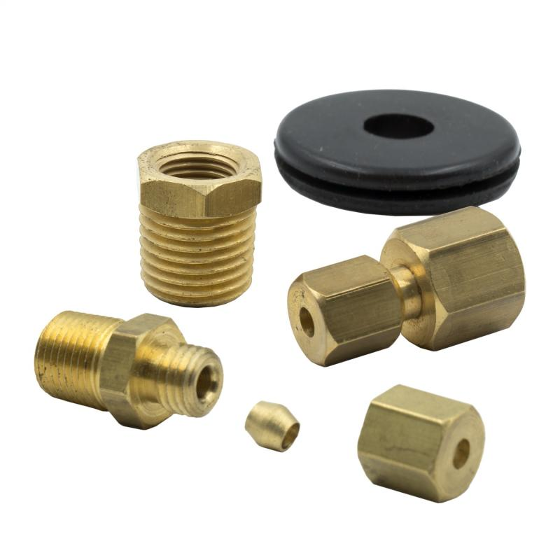 AutoMeter FITTING KIT; 1/8in. NPTF COMPRESSION TO 1/8in. LINE; BRASS