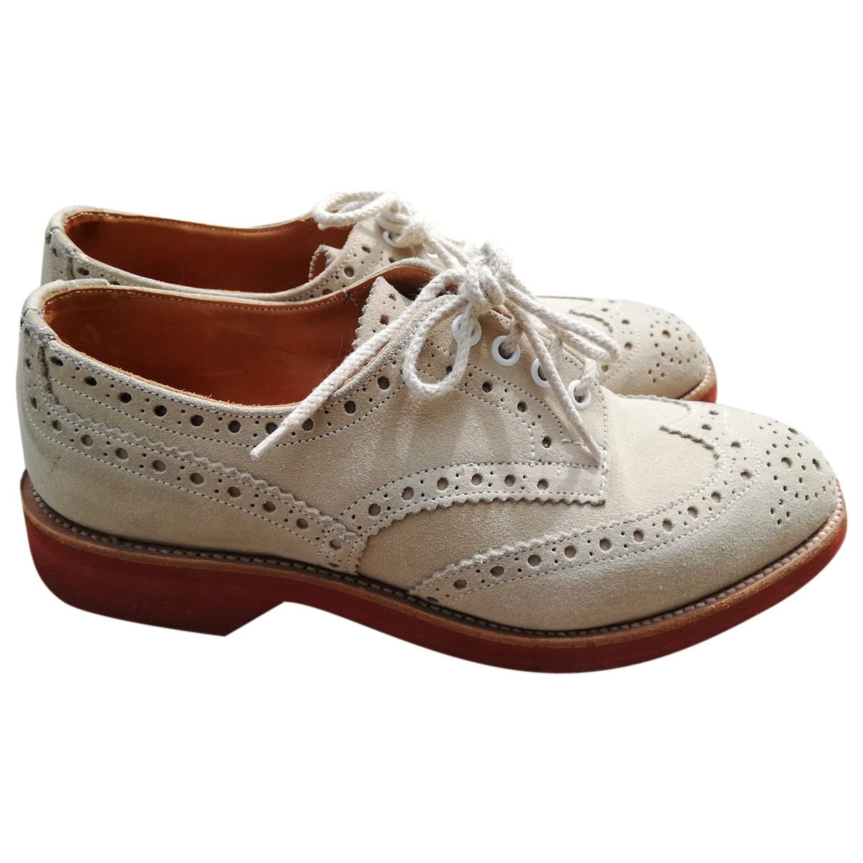Trickers London \N Schnuerschuhe in  Beige Veloursleder