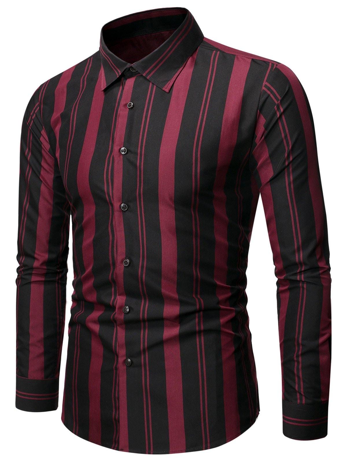 Balanced Striped Button Up Slim Shirt