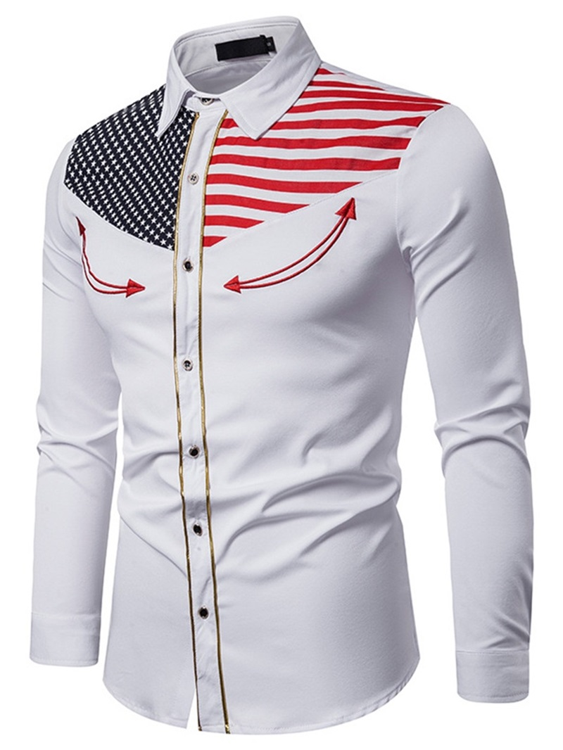 Ericdress Lapel Embroidery Color Block Fall Single-Breasted Men's Shirt