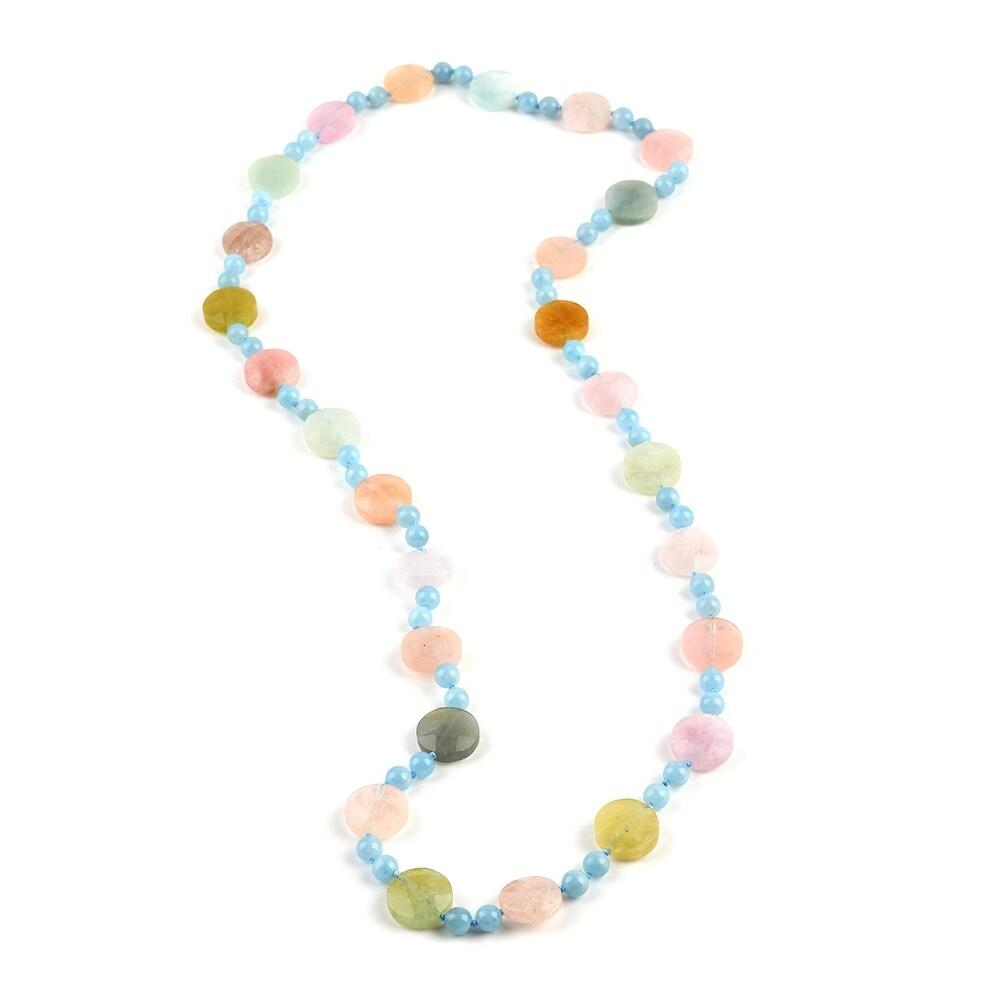 Rhodium Over Aquamarine Necklace Size 32 Inch Ct 391.6 - Necklace 32'' (Blue - Aquamarine - Blue - Necklace 32'')