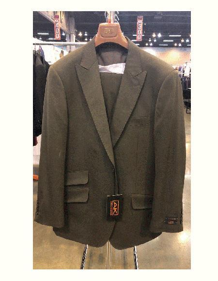 Classic Fit Olive Green Wool Peak Lapel Vested Suit Pleated Pants