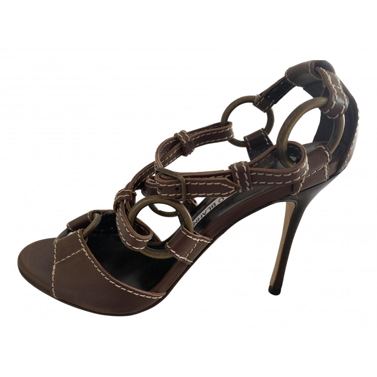 Manolo Blahnik \N Brown Leather Sandals for Women 35.5 EU