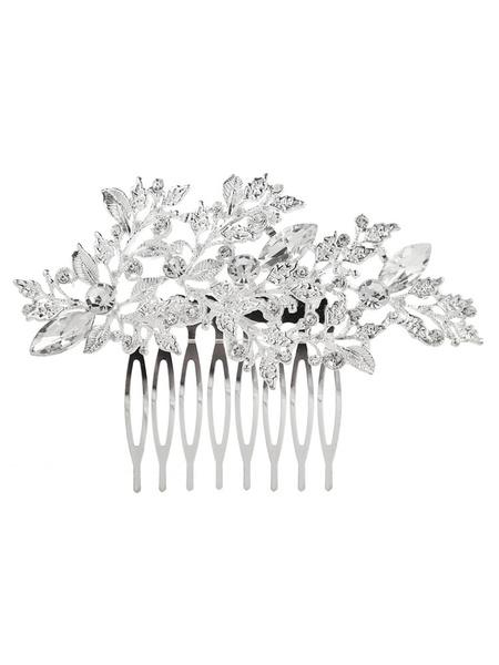 Milanoo Silver Wedding Comb Rhinestones Headpieces Beaded Bridal Hair Accessories