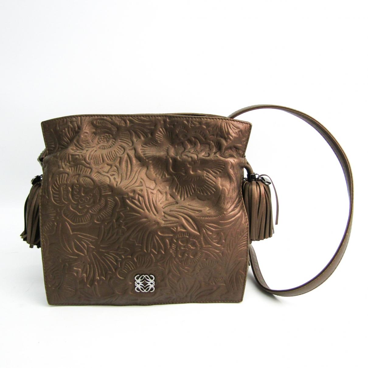 Loewe Flamenco Gold Leather handbag for Women \N